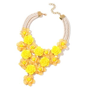 Yellow Chroma, Yellow Glass Goldtone Floral Statement Necklace (18-20 in)
