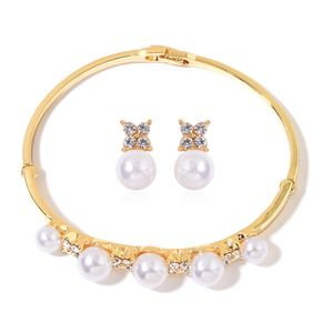Simulated Pearl, Austrian Crystal Goldtone Bangle (8 in) and Earrings