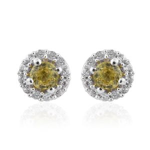 Madagascar Sphene, Cambodian Zircon Platinum Over Sterling Silver Halo Stud Earrings TGW 0.75 cts.