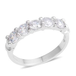 Simulated Diamond Silvertone 5 Stone Band Ring (Size 7.0) TGW 2.15 cts.