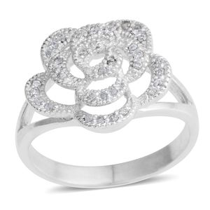 Simulated Diamond Silvertone Flower Split Ring (Size 7.0) TGW 1.11 cts.