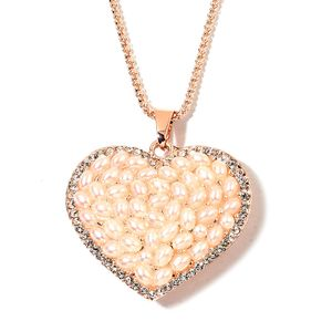 Simulated Pearl, White Austrian Crystal Rosetone Heart Pendant With Chain (28 in)