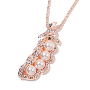 Simulated Pearl, Austrian Crystal Rosetone Peas Pendant With Chain (28 in) TGW 17.50 cts.