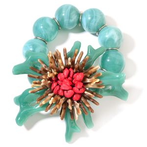 Green Chroma, Red Coral Flower Bracelet (Stretchable)
