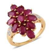 Srikant's Showstopper Niassa Ruby, Cambodian Zircon 14K YG Over Sterling Silver Ring (Size 8.0) TGW 6.77 cts.