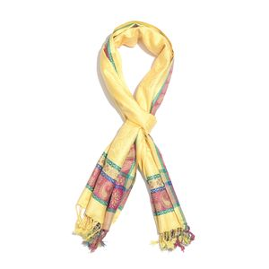 Canary Yellow Jacquard Pattern 100% Viscose Reversible Scarf (80x27 in)