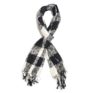 Black and White Checks Pattern 100% Viscose Reversible Scarf (80x27 in)