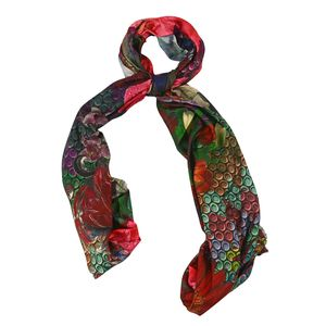 Red 100% Modal Floral Printed Scarf (70x27 in)