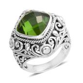 Bali Legacy Collection Chartreuse Quartz Sterling Silver Ring (Size 8.0) TGW 7.13 cts.