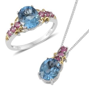 Marambaia Topaz, Mahenge Pink Spinel 14K YG and Platinum Over Sterling Silver Ring (Size 10) and Pendant With Chain (20 in) TGW 7.26 cts.