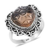 Artisan Crafted Brazilian Smoky Quartz Sterling Silver Ring (Size 11.0) TGW 11.40 cts.