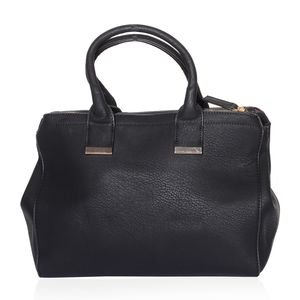 Black Crocodile Embossed Faux Leather 3 Compartment Button and Zip Away Doctor Bag (13x5.5x9.5 in)