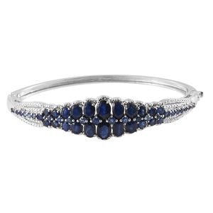 Kanchanaburi Blue Sapphire Platinum Over Sterling Silver Bangle (6.75 in) TGW 10.43 cts.