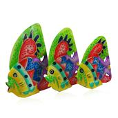Handcarved & Painted Softwood Fish Set of 3