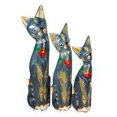 Handcarved & Painted Softwood Cat Set of 3