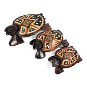 Handcarved & Painted Softwood Turtle With Separated Lid Set of 3