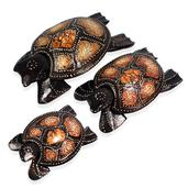 Set of 3 Hand Carved & Painted Softwood Decorative Turtles With Separated Lid (5,6,8 in)