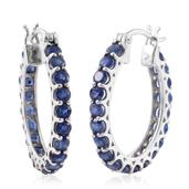 Masoala Sapphire Platinum Over Sterling Silver Hoop Earrings TGW 6.56 cts.
