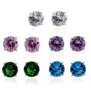 Simulated Multi Color Diamond Silvertone Ear Jacket Earrings with Set of 4 Interchangeable Studs TGW 17.36 cts.