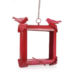 Handcrafted Red Square Iron Bird House (10x10.5 in)