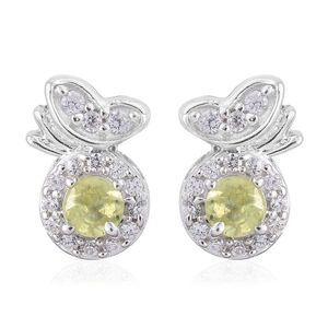 Madagascar Sphene, Cambodian Zircon Platinum Over Sterling Silver Butterfly on Apple Stud Earrings TGW 0.79 cts.