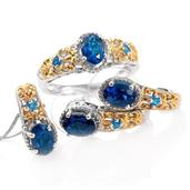 Deepak's Dazzling Deals Malgache Neon Apatite 14K YG and Platinum Over Sterling Silver J-Hoop Earrings, Ring (Size 6) and Pendant With Chain (20 in) TGW 4.05 cts.