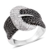 Thai Black Spinel, White Zircon Sterling Silver Buckle Ring (Size 5.0) TGW 2.30 cts.