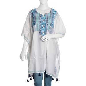 100% Cotton Hand Block Blue Tribal Medellion Print Scoop V-Neck Caftan with Handmade Tassels (One Size)