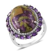 Tasmanian Stichtite, Amethyst Platinum Over Sterling Silver Ring (Size 8.0) TGW 11.69 cts.
