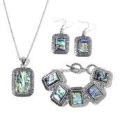 Abalone Shell Silvertone Bracelet, Earrings and Pendant With Stainless Steel Chain (18.00 In) TGW 84.00 cts.