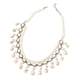 White Howlite, Simulated Pearl Silvertone Double Strand Charm Bib Necklace (22 in) TGW 360.50 cts.