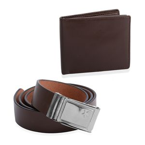 Brown 100% Genuine Leather RFID Bi-Fold Men's Wallet (9x11 in) and Adjustable Leather Belt (44 in)
