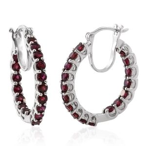 Anthill Garnet Platinum Over Sterling Silver Inside Out Hoop Earrings TGW 4.66 cts.