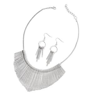 Silvertone and Stainless Steel Earrings and Necklace (20 in)