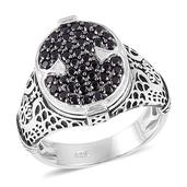 Thai Black Spinel Black Rhodium Over and Sterling Silver Men's Ring (Size 13.5) TGW 1.25 cts.