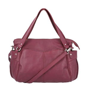 Lifestyle Must Have Burgundy Genuine Leather RFID Sling Bag with Standing Studs (17x11x3 in)