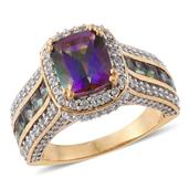 Northern Lights Mystic Topaz, Cambodian Zircon 14K YG Over Sterling Silver Ring (Size 6.0) TGW 7.12 cts.