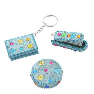Set of Bedazzled Booklet Key Chain, Measuring Tape, and Personal Size Stapler-Light Blue