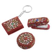 Set of Bedazzled Booklet Key Chain, Measuring Tape, and Personal Size Stapler-Red