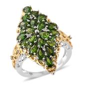 Russian Diopside, Cambodian Zircon 14K YG and Platinum Over Sterling Silver Elongated Ring (Size 8.0) TGW 6.10 cts.