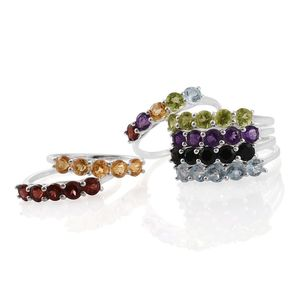 One Time Only Set of 7 Multi Gemstone Sterling Silver 5 Stone Stack Rings (Size 7) TGW 11.14 cts.