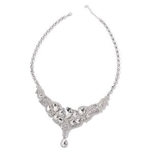 White Glass, White Austrian Crystal Silvertone Necklace (22 in)