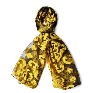 Yellow and Black 70% Polyester & 30% Chinlon Semi Sheer Damask Embroid Pattern Scarf (72x26 in)