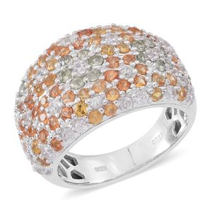 Multi Sapphire, Cambodian White Zircon Sterling Silver Cluster Ring (Size 6.0) TGW 4.36 cts.