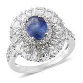 Masoala Sapphire, White Topaz Platinum Over Sterling Silver Ring (Size 5.0) TGW 6.63 cts.