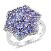 Tanzanite, Cambodian Zircon Platinum Over Sterling Silver Ring (Size 6.0) TGW 3.06 cts.