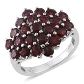 Anthill Garnet Platinum Over Sterling Silver Ring (Size 6.0) TGW 5.42 cts.