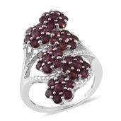Anthill Garnet Platinum Over Sterling Silver Ring (Size 6.0) TGW 4.06 cts.