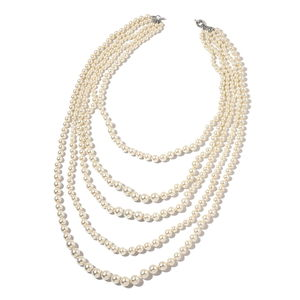 Simulated Pearl Silvertone Multi Strand Drape Necklace (22 in)