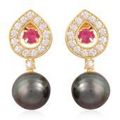 Tahitian Pearl, Inner Burmese Ruby, White Zircon 14K YG Over Sterling Silver Dangle Earrings TGW 2.10 cts.